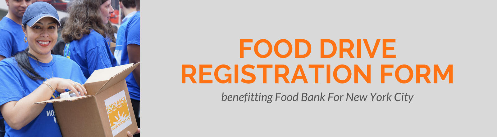 Food drive registration form banner